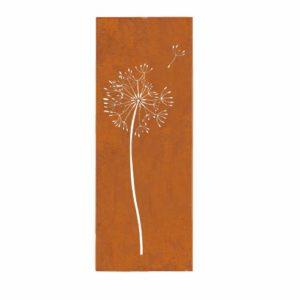prima terra Deko- und Sichtschutzelement Edelrost Pusteblume  | Sichtschutz Garten Metall  |