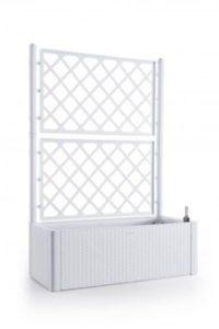 Kreher XL Rankgitter, Spalier mit Pflanzkasten in moderner Rattan-Optik aus robustem Kunststoff in Weiß  | Sichtschutz Garten Kunststoff  | Sichtschutz Garten Modern