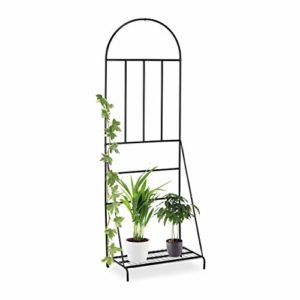 Relaxdays  schwarz Blumenregal mit Rankgitter,Garten, Balkon, Terrasse  | Sichtschutz Garten Metall  |