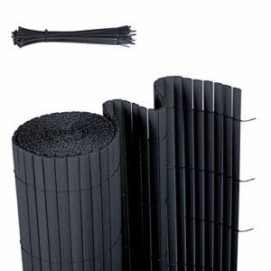 Sekey PVC Sichtschutzmatte Wetterfest  Anthrazit  | Sichtschutz Garten Kunststoff  | Sichtschutz Garten Ideen