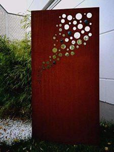 Zen Man Edelrost Garten Sichtschutz aus Metall   | Sichtschutz Garten Metall  |