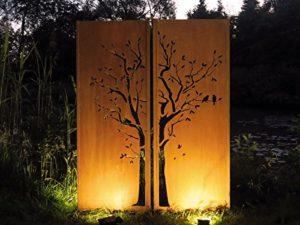 Gartenwand Sichtschutz Diptychon Baum rost Stahl | Sichtschutz Garten Metall |