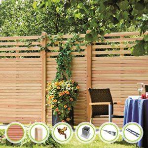 Saigon-Serie Sichtschutzzaun I Gartenzaun  |  naturbelassenes Douglasie-Holz  | Sichtschutz Garten Holz  |